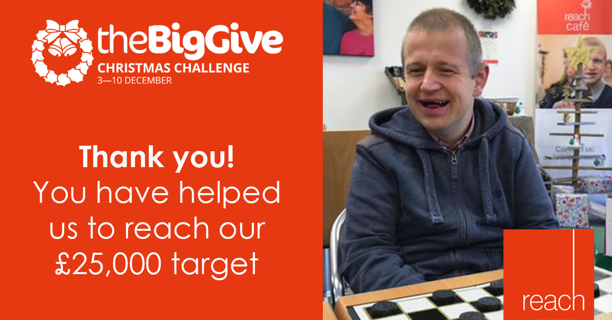 Picture and text reading Thank you! You have helped us to reach our £25,000 target