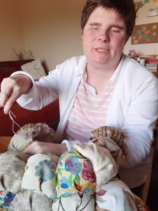 Emma with her sewing project